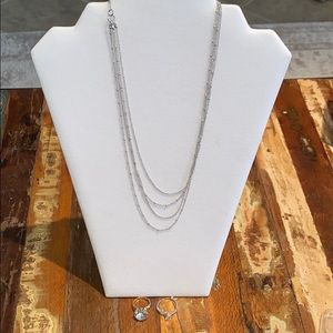 Silver Layered Necklace & Ring Bundle- NWOT